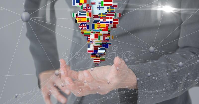 Midsection biznesowa osoba z różnorodnymi flaga i łączyć kropkami obraz stock
