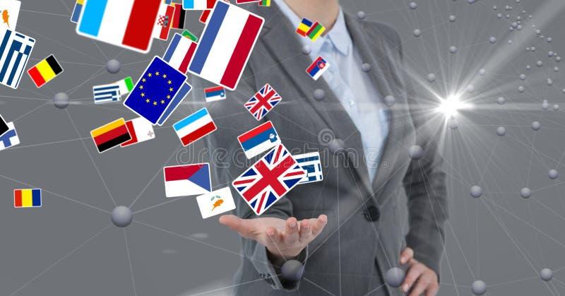Midsection bizneswoman z różnorodnymi flaga obrazy royalty free