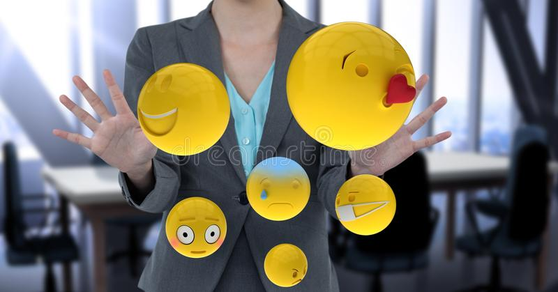 Midsection of businesswoman with emojis. Digital composite of Midsection of businesswoman with emojis stock illustration