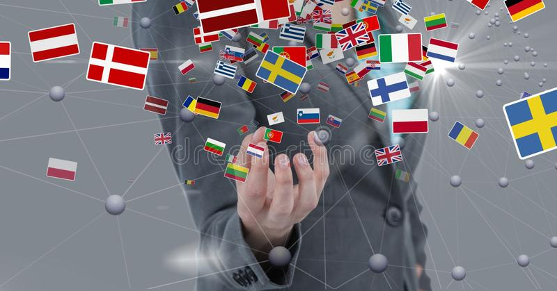 Midsection of businesswoman surrounded with various flags royalty free stock photography