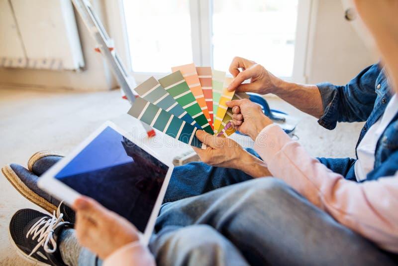 Midsection de pares mayores con hogar de la pintura de la muestra del color el nuevo, concepto de la relocalizaci?n foto de archivo