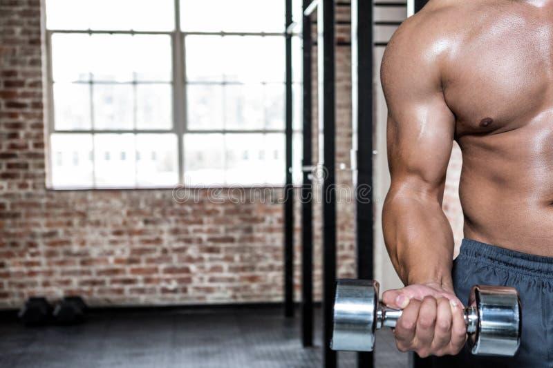 Midsection del hombre que ejercita con pesas de gimnasia en el gimnasio imagenes de archivo