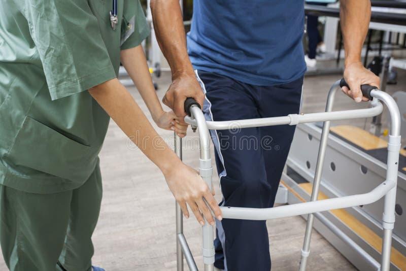 Midsection dell'infermiere Assisting Senior Man da camminare facendo uso del camminatore fotografie stock libere da diritti
