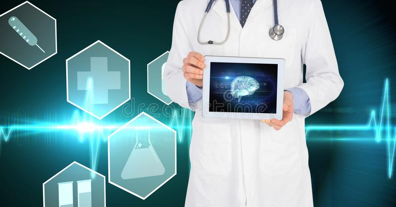 Midsection of doctor showing brain structure on tablet PC against virtual screen stock photo