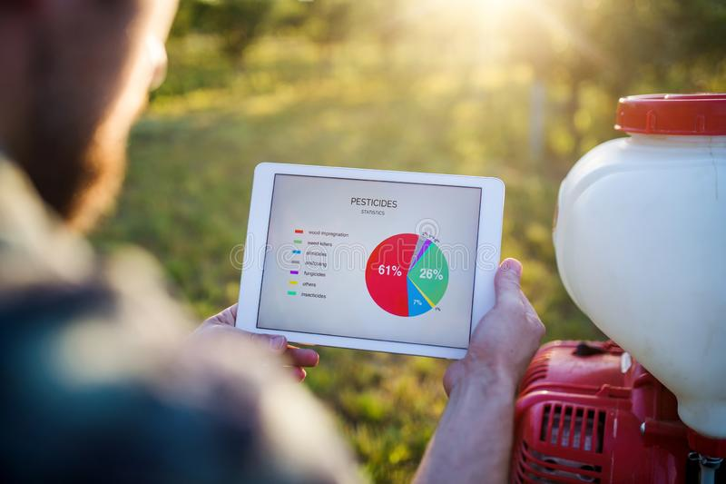 A midsection of farmer with tablet standing outdoors in orchard. royalty free stock image