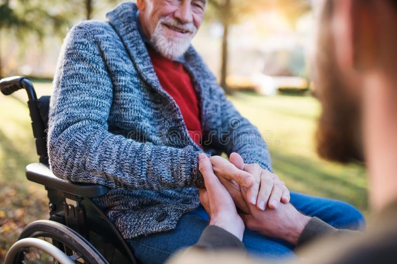 Midsection of senior father with wheelchair and his son in nature, holding hands. Midsection of senior father with wheelchair and his son on a walk in nature stock images