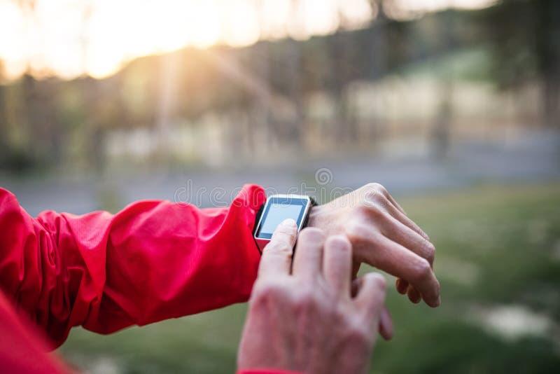 Midsection sprawdza czas żeński biegacz outdoors w jesieni naturze, zdjęcie royalty free