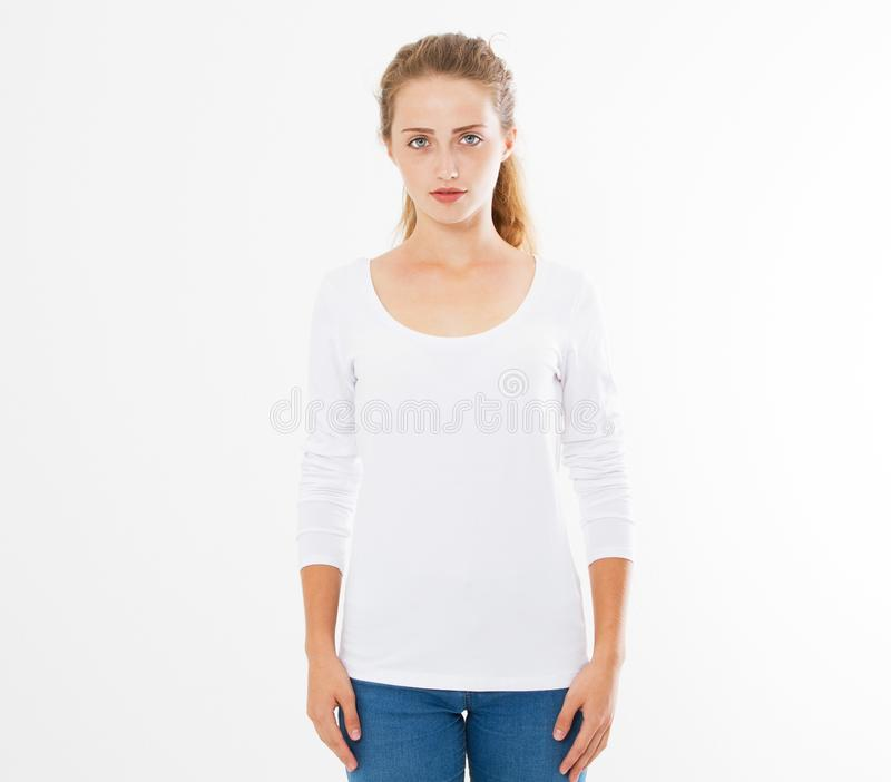 Midsection of young woman wearing blank tshirt on white background, girl in t-shirt mock up isolated royalty free stock photo