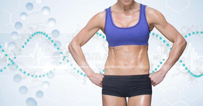 Midsectionen av den manliga kvinnan i sportar bär mot DNAstrukturen royaltyfria bilder
