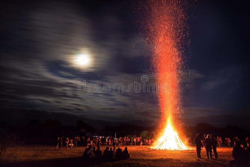 Midsummer Bonfire. Bonfire of midsummer festival in Germany royalty free stock photography