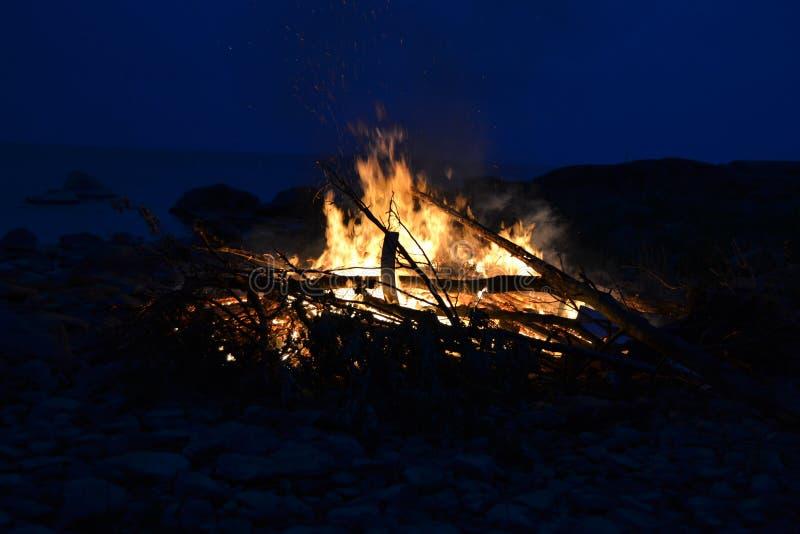 Midsummer bonfire. Midsummer fire at Siikaranta Camping, Pori Finland stock images