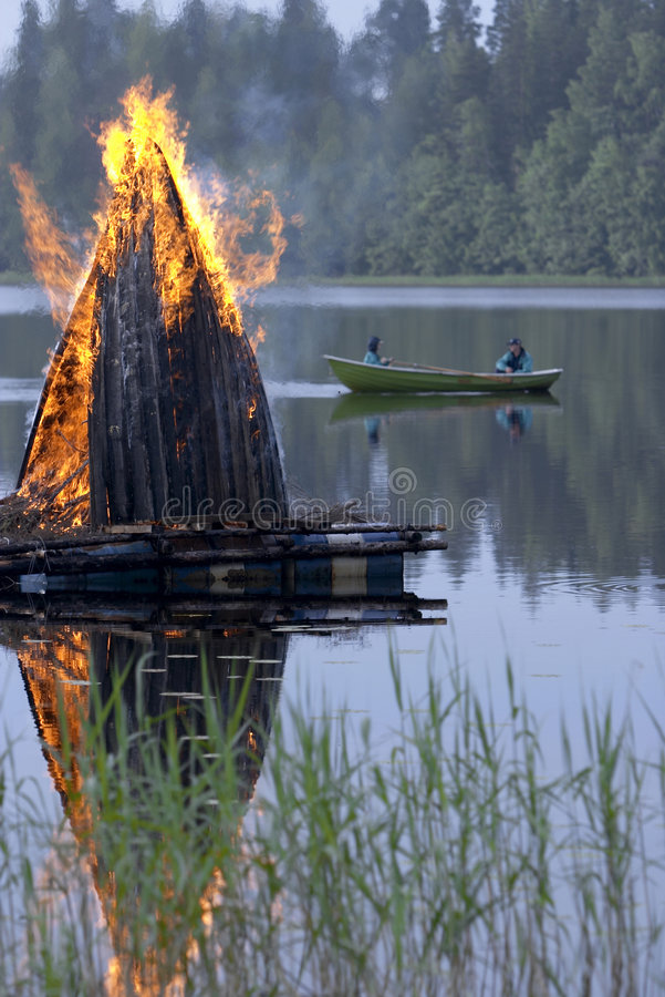 Midsummer fire. In Finland stock images