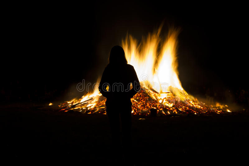Midsummer fire, Germany stock photography
