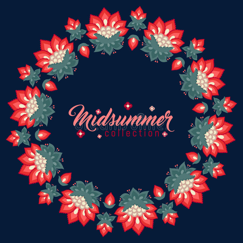 Midsummer floral frame, Jacobean flowers wreath. Midsummer floral vintage frame, Jacobean embroidery style flowers. Colorful herbal wreath on dark. Vector royalty free illustration