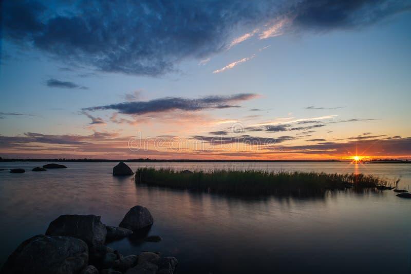 Midsummer sunset. A midsummer sunset in the archipelago near Vaasa, Finland stock images