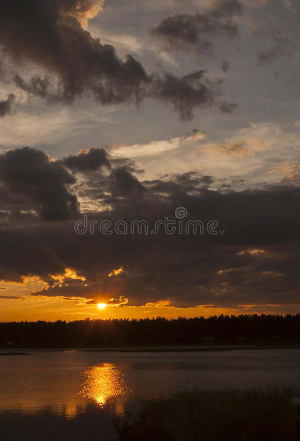 Midsummer sunset. At around 10 pm with a promise of a beautiful day. Lake Vanern, Karlstad, Sweden stock images