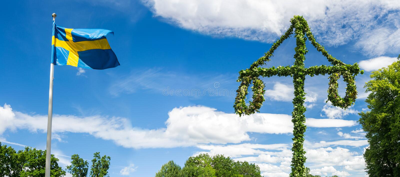 Midsummer traditional Swedish symbols. In panorama royalty free stock image
