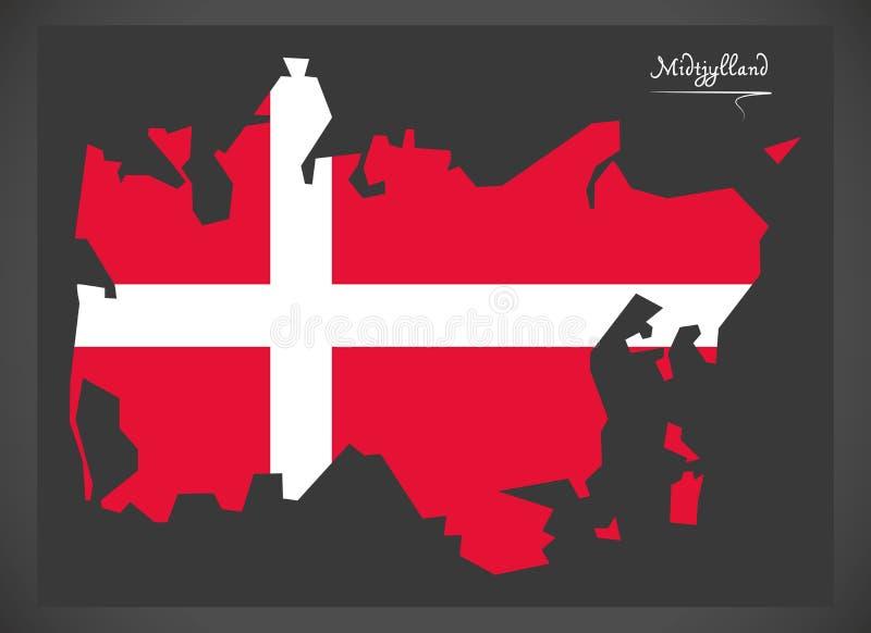 Midtjylland mapa Dani z Duńskim flaga państowowa illustratio ilustracja wektor
