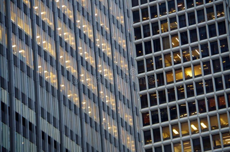 Midtown Manhattan architectural background. Midtown Manhattan NYC intersecting high-rise buildings architectural background stock image