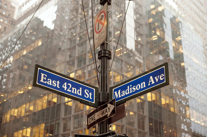 Midtown Manhattan. Corner of 42nd and Madison ave in midtown Manhattan, NYC royalty free stock photography