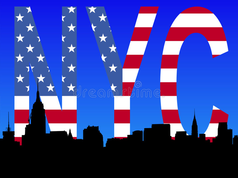 Download Midtown Manhattan With Flag Stock Vector - Illustration: 3816565