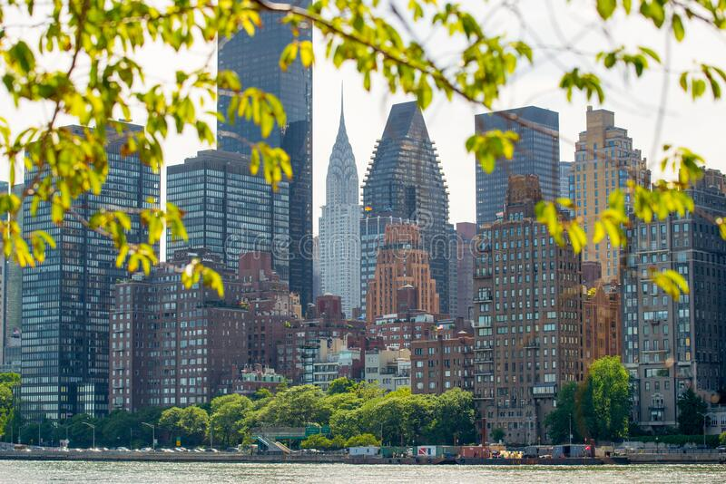 Midtown Manhattan with New York City skyline over East River stock photo