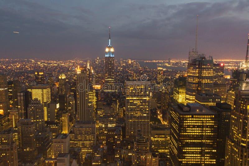 Midtown Manhattan night view. Night view of midtown Manhattan, NYC stock photos