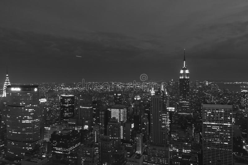 Midtown Manhattan night view. Night view of midtown Manhattan, NYC royalty free stock images