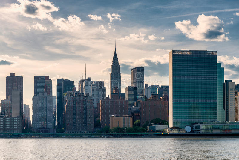 Midtown Manhattan NYC. Midtown Manhattan, New York City with Chrysler and United Nations Building. Captured from Long Island City, across the East River royalty free stock image