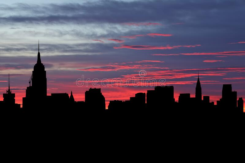 Midtown Manhattan skyline på solnedgångsillustration arkivbild