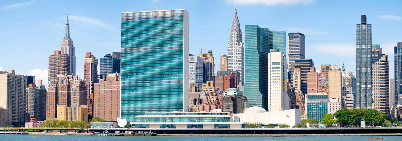 The midtown Manhattan skyline. Panorama of the midtown Manhattan skyline on a beautiful sunny day royalty free stock image