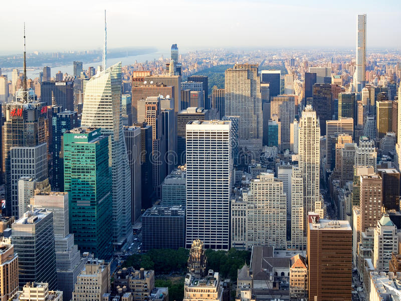 Midtown New York with the Rockefeller Center and other landmarks. Aerial view of midtown New York with the Rockefeller Center, the Bank of America tower, the stock photography