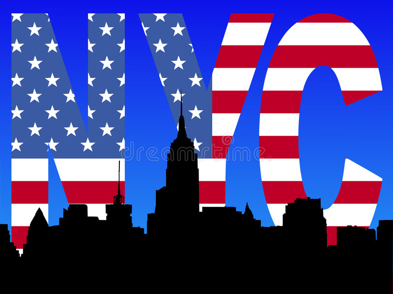 Midtown Skyline With Flag Text Stock Images