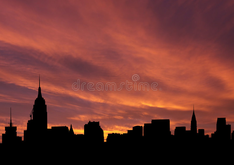 Midtown skyline at sunset royalty free illustration
