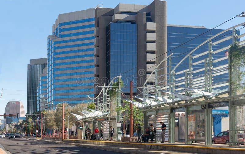 Midtown station for Valley Metro light rail station in Phoenix Arizona. Phoenix,Az/USA - 6.21.2019: Midtown station for Valley Metro light rail station in stock photo