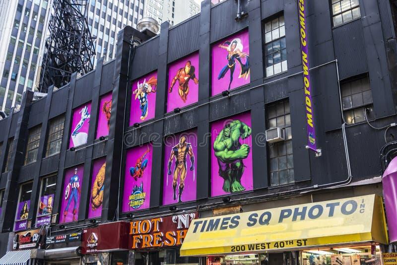 MidtownkomikerTimes Square i New York City, USA arkivfoto