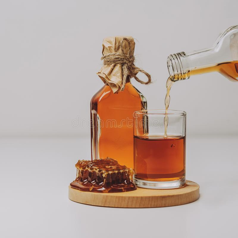 Midus is a type of Lithuanian mead, an alcoholic beverage made of grain, honey and water. Balts were making mead for thousands of. Years stock photo