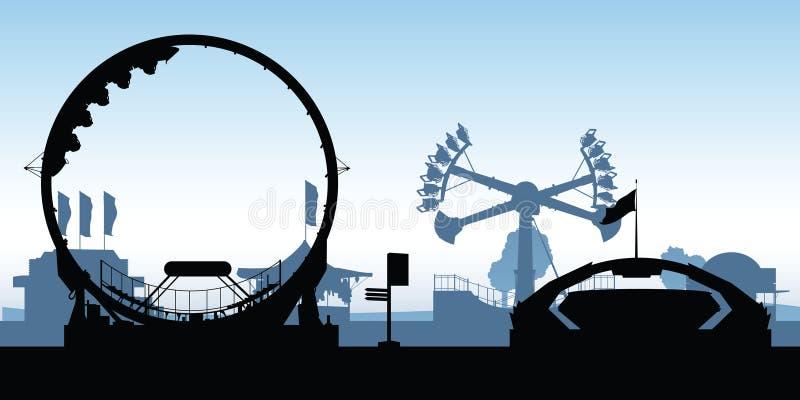 Midway Amusement Rides royalty free illustration