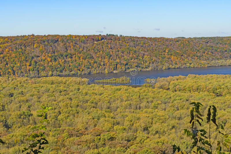 MIdwest River Valleys in the Fall. Where the MIssissippi and Wisconsin Rivers meet in Wyalusing State Park in Wisconsin royalty free stock photography
