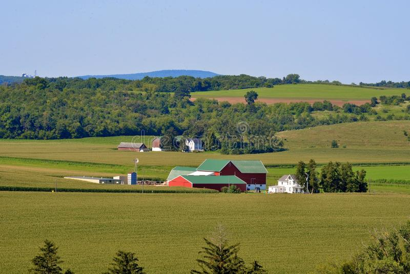 Midwest southern wisconsin farm scene. With rolling hills royalty free stock image
