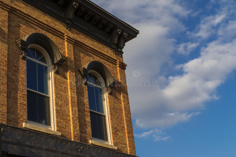 Midwest storefront windows. Storefront windows in small Midwest town of LaSalle, Illinois, U.S.A royalty free stock images