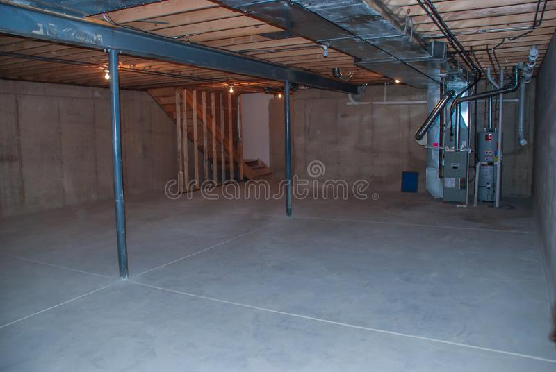 Midwestern United States basement with mechanicals. And HVAC equipment in Mokena, Illinois royalty free stock photography