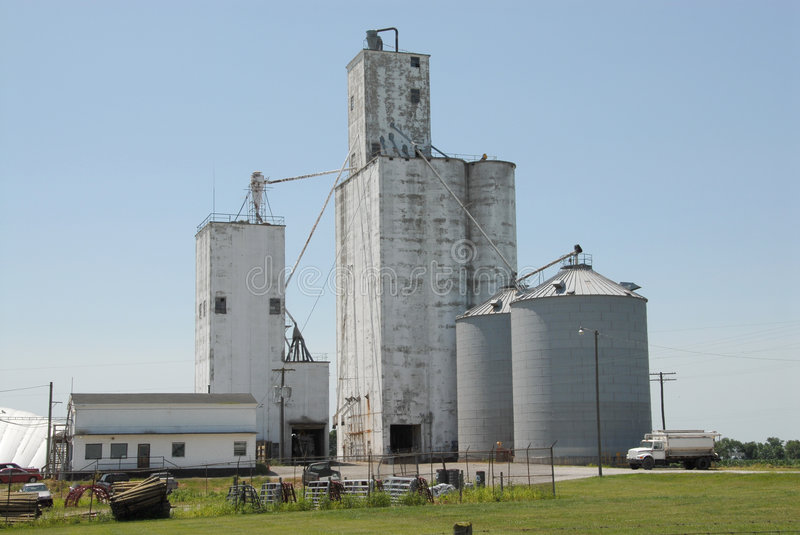 Midwestern USA Grain Co-op. A grain co-op feed mill facility in Indiana, USA stock image