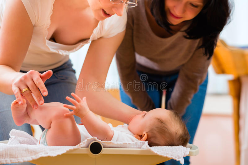Midwife measuring weight or newborn baby. Midwife examining newborn baby at postnatal care in practice checking weight with scale royalty free stock images