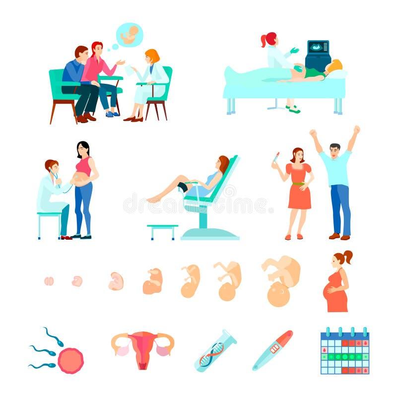 Midwifery Obstetrics Gestation Icon Set vector illustration