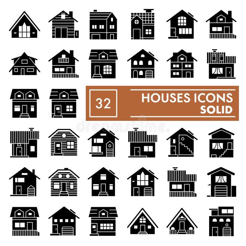 Mieści glif ikony set, chałupa symbole kolekcja, wektorów nakreślenia, logo ilustracje, domów znaków bryły piktogramy royalty ilustracja