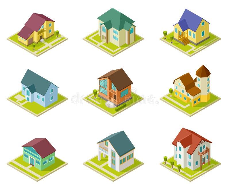 mieści isometric Wiejski stwarza ognisko domowe, budować i chałupy 3d mieści miastowego zewnętrznego wektoru set royalty ilustracja