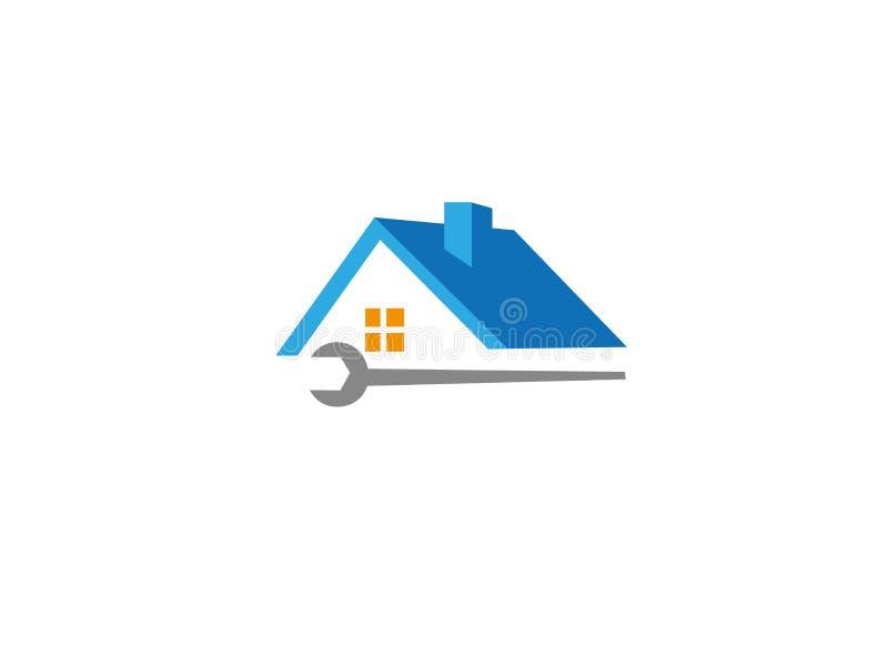 Mieści usługi i stwarza ognisko domowe narzędzie dla logo i dach royalty ilustracja
