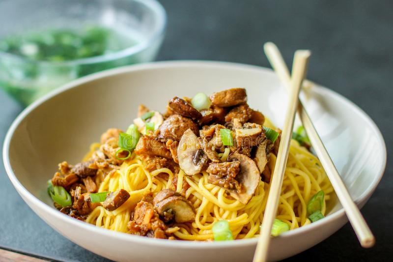 Mie ayam chicken noodles royalty free stock photos