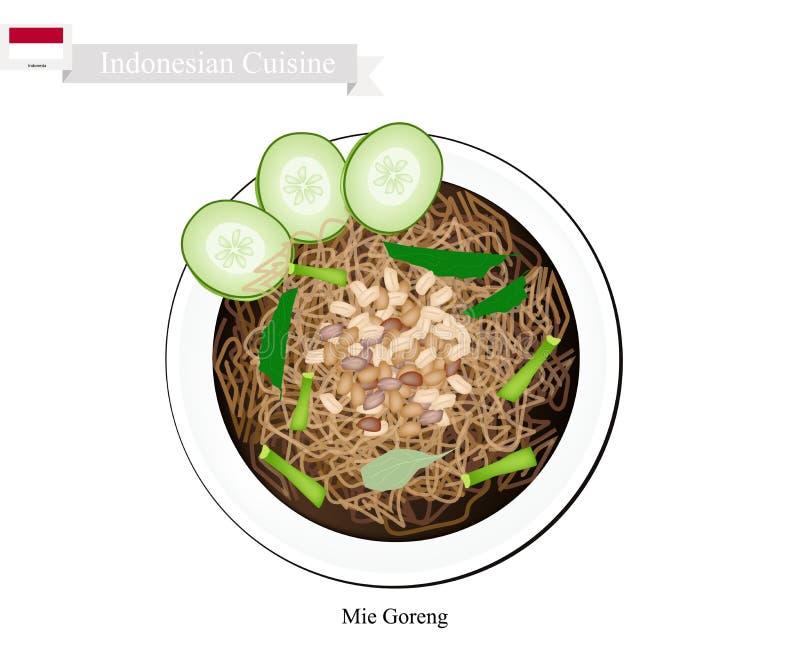 Mie Goreng, Bami Goreng eller indones Fried Noodles stock illustrationer